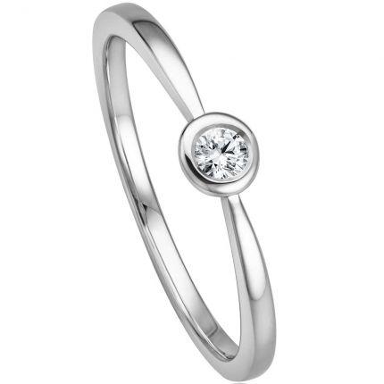 Toller Ring aus Weißgold zum Antrag mit einem 0,09 ct Brillanten