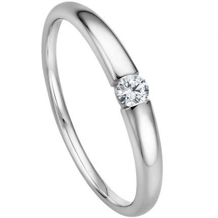 Verlobungsring - Spannring mit 0,09 ct w/si Brillanten