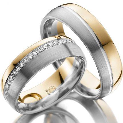 Zweifarbiges Ringpaar mit diagonalem Brillantkranz